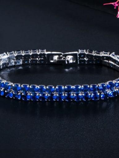 Platinum blue Copper Cubic Zirconia Geometric Dainty Bracelet