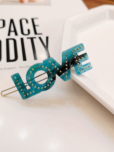 green Alloy  Cellulose Acetate Minimalist Letter Hair Pin