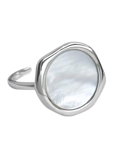 925 Sterling Silver Shell Geometric Minimalist Band Ring
