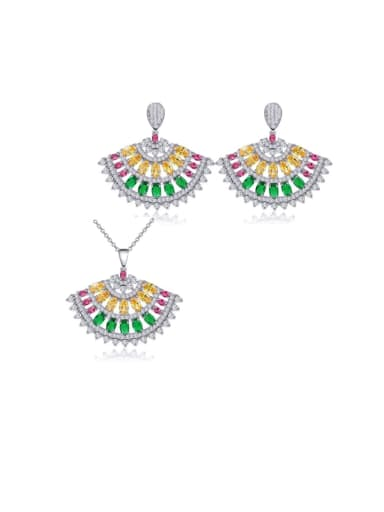 Color two piece set Copper Cubic Zirconia Luxury Irregular  Earring and Necklace Set