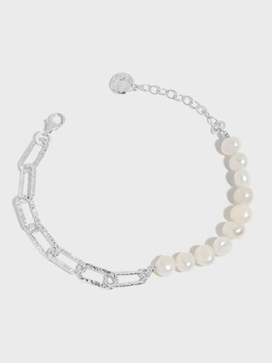 925 Sterling Silver Freshwater Pearl Geometric Vintage Link Bracelet