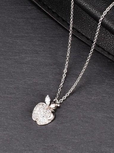 Titanium Steel Rhinestone Friut Minimalist Necklace