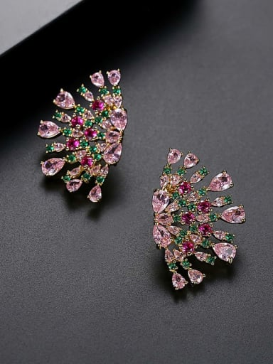 Color Copper Cubic Zirconia Luxury Multi Color Flower  Stud Earring