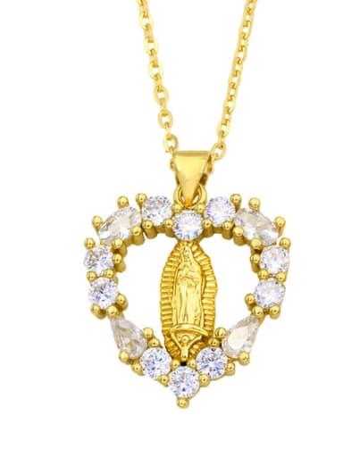 C Brass Cubic Zirconia Heart Hip Hop Regligious Necklace