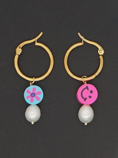 Stainless steel Freshwater Pearl Multi Color Geometric Bohemia Huggie Earring
