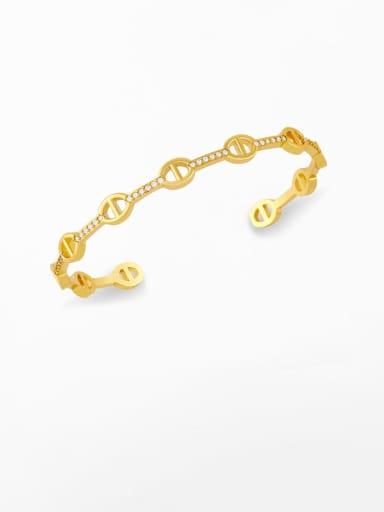Brass Cubic Zirconia Smiley Vintage Bracelet