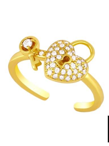B Brass Cubic Zirconia Key Minimalist Band Ring
