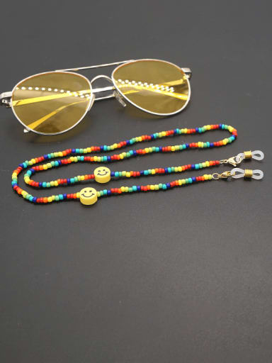 GZ N200010B Stainless steel Bead Multi Color Smiley Bohemia Hand-woven Necklace