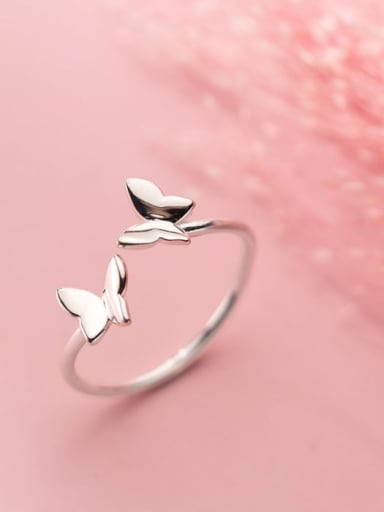 925 Sterling Silver  Smooth  Butterfly Minimalist Band Ring