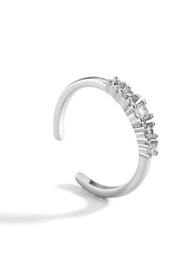 Rhodium zircon ring Brass Cubic Zirconia Geometric Minimalist Band Ring
