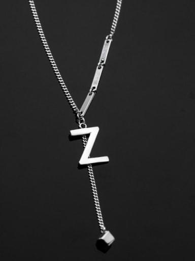 925 Sterling Silver Tassel Minimalist Lariat Necklace