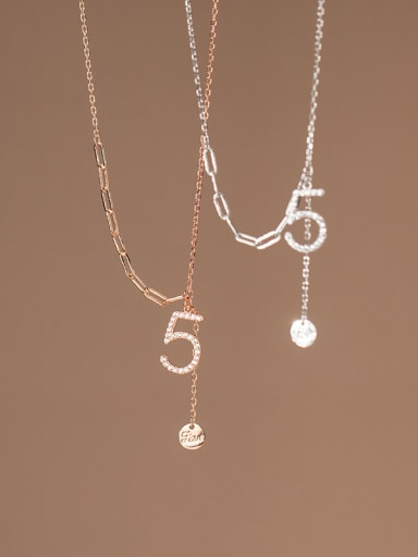 925 Sterling Silver Cubic Zirconia Number Minimalist Tassel Necklace