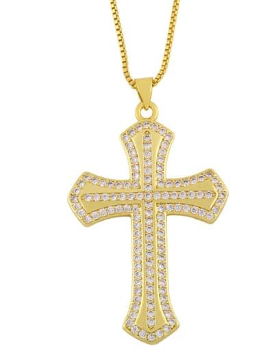 B Brass Cubic Zirconia Cross Minimalist Regligious Necklace