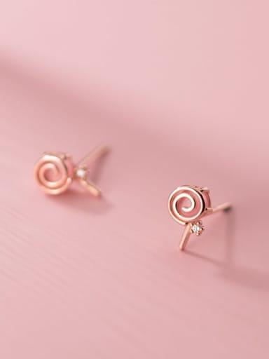 925 Sterling Silver Garnet Round Minimalist Stud Earring