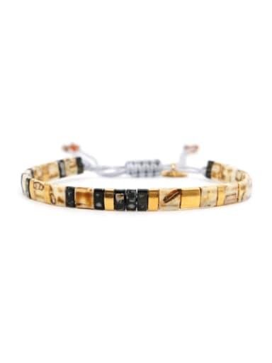 TL B190257A Stainless steel Tila Bead Geometric Bohemia Handmade Weave Bracelet
