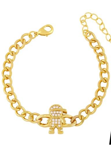 Brass Cubic Zirconia Star Trend Hollow Chain Bracelet