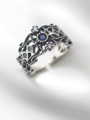 925 Sterling Silver Rhinestone Hollow  Flower Vintage Band Ring