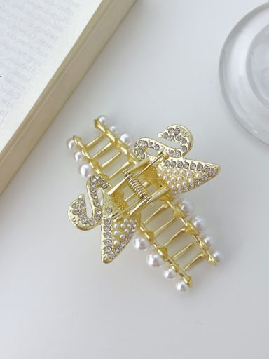 Swan 8cm Alloy Imitation Pearl Trend Butterfly  Jaw Hair Claw