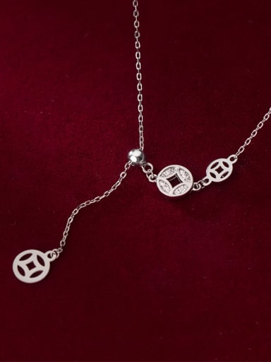 925 Sterling Silver Cubic Zirconia Coin Vintage Lariat Necklace