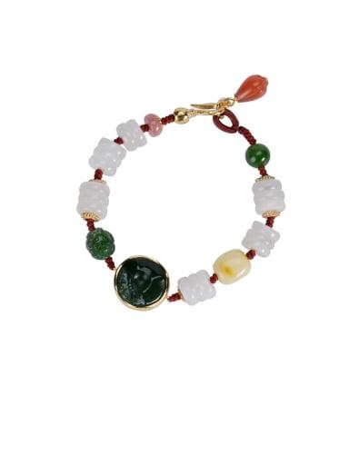 925 Sterling Silver Jade Round Vintage Beaded Bracelet