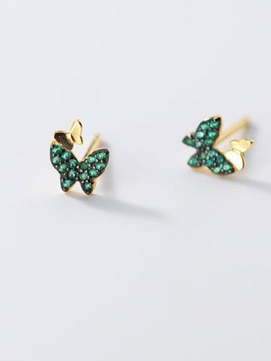 925 Sterling Silver Rhinestone Butterfly Cute Stud Earring