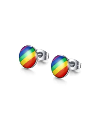 Stainless steel Enamel Round Minimalist Stud Earring
