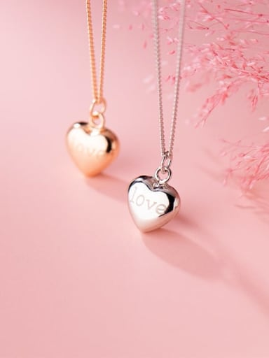 925 Sterling Silver Smooth Heart Minimalist Necklace