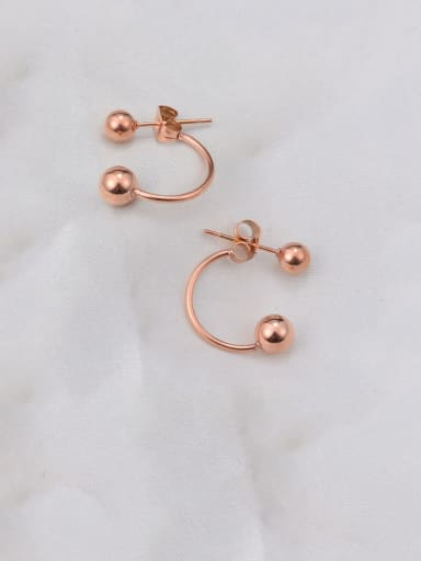 Titanium  Smooth Round Bead  Minimalist Stud Earring
