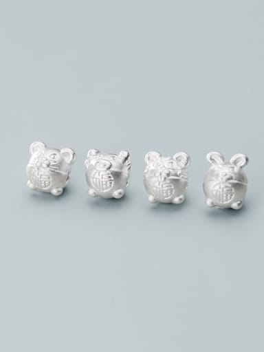 999 Fine Silver With White Gold Plated Cute Zodiac Signs Beads Diy Accessories
