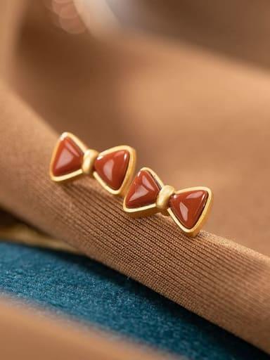 Earrings 925 Sterling Silver Carnelian Bowknot Vintage Band Ring