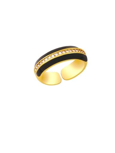 black Brass Enamel Geometric Hip Hop Band Ring