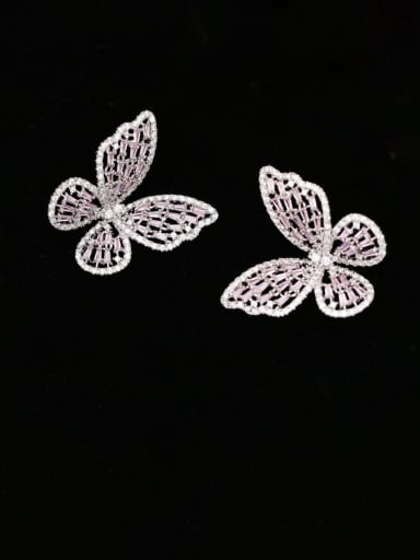Platinum pink diamond large Brass Cubic Zirconia Butterfly Statement Cluster Earring
