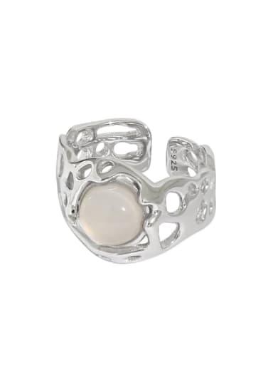 Platinum [13 adjustable] 925 Sterling Silver Cats Eye Irregular Vintage Band Ring