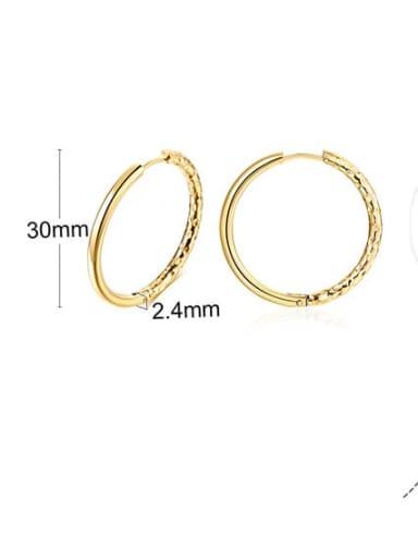 297 gold 30mm Titanium Steel Round Hip Hop Hoop Earring