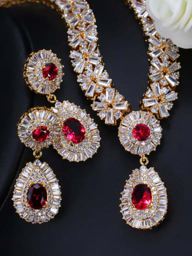 Champagne red zirconium Brass Cubic Zirconia Luxury Geometric Earring and Necklace Set