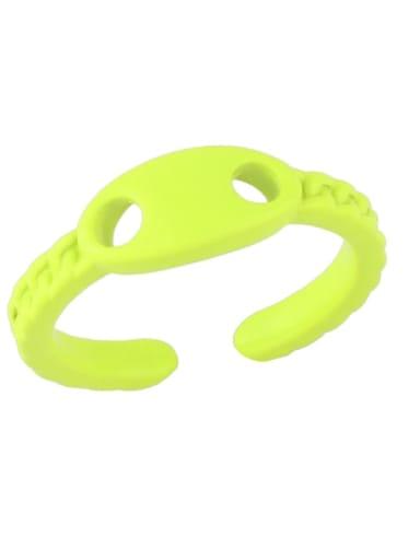 yellow Brass Enamel Geometric Minimalist Band Ring
