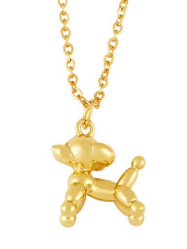 Brass Cartoon animal Dog Cute Necklace