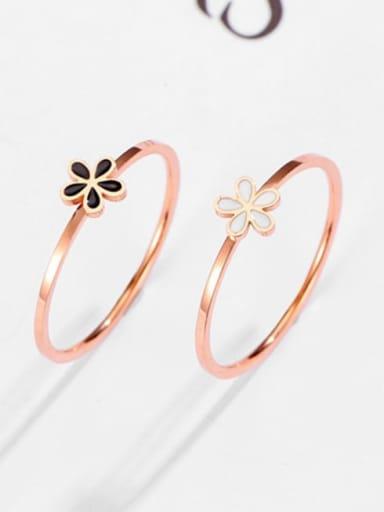 Titanium Steel Enamel Rhinestone Flower Minimalist Band Ring