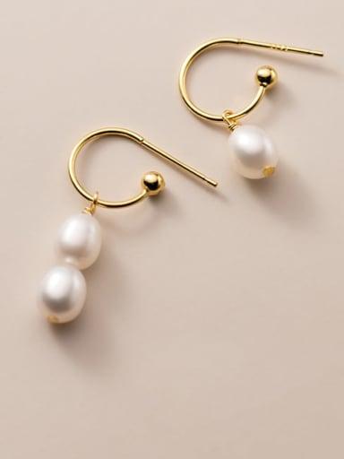 925 Sterling Silver Imitation Pearl Geometric Minimalist Hook Earring