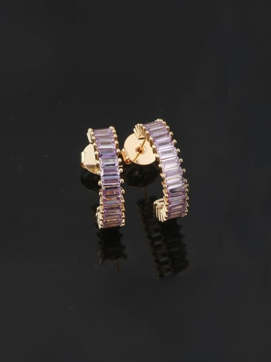 violet Brass Cubic Zirconia Geometric Dainty Stud Earring