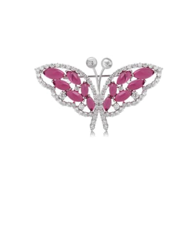 Copper Cubic Zirconia Butterfly Luxury Brooch
