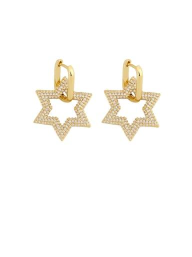 Brass Cubic Zirconia Geometric Vintage Cluster Earring