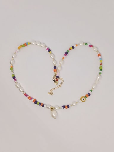 Freshwater Pearl Multi Color Glass bead Bohemia Necklace