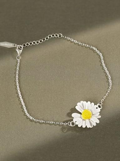 925 Sterling Silver Enamel Flower Minimalist Link Bracelet