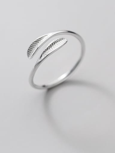 925 Sterling Silver Leaf Minimalist Band Ring