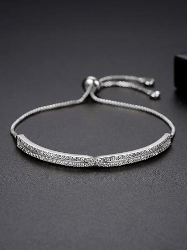 JRB 005 platinum Brass Cubic Zirconia Geometric Trend Adjustable Bracelet