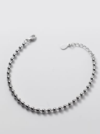 S925 silver bracelet 0.3cm 925 Sterling Silver Bead Round Minimalist Beaded Bracelet
