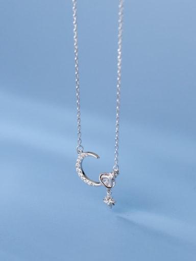 silver 925 Sterling Silver Cubic Zirconia Moon Minimalist Necklace