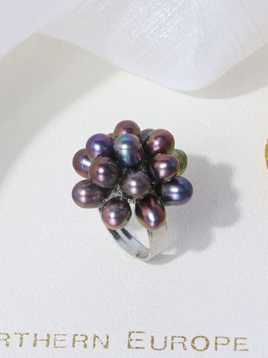 Black ring Brass Freshwater Pearl Flower Vintage Band Ring