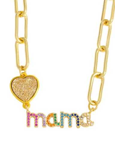 B Brass Cubic Zirconia Letter MAMA Minimalist Pendant Necklace
